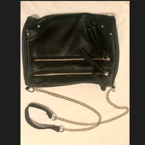 Black edgy gold accented faux leather purse